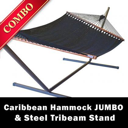 CARIBBEAN HAMMOCK JUMBO (Black) and Steel Stand (Bronze) - COMBO