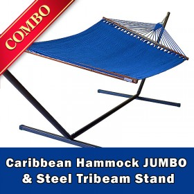 CARIBBEAN HAMMOCK JUMBO (Blue) and Steel Stand (Bronze) - COMBO