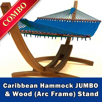 CARIBBEAN HAMMOCK JUMBO (Blue) and Wood Stand - COMBO