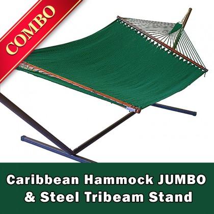 CARIBBEAN HAMMOCK JUMBO (Green) and Steel Stand (Bronze) - COMBO