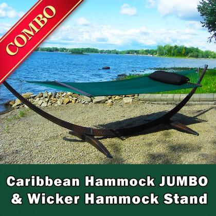 CARIBBEAN HAMMOCK JUMBO (Green) and WICKER STAND (Brown) - COMBO