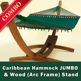 CARIBBEAN HAMMOCK JUMBO (Green) and Wood Stand - COMBO