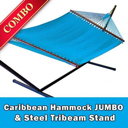 CARIBBEAN HAMMOCK JUMBO (Light Blue) and Steel Stand (Bronze) - COMBO