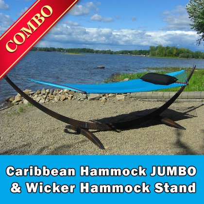 CARIBBEAN HAMMOCK JUMBO (Light Blue) and WICKER STAND (Brown) - COMBO