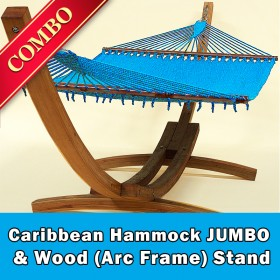 CARIBBEAN HAMMOCK JUMBO (Light Blue) and Wood Stand - COMBO