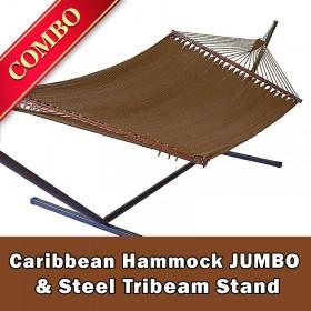 CARIBBEAN HAMMOCK JUMBO (Mocha) and Steel Stand (Bronze) - COMBO