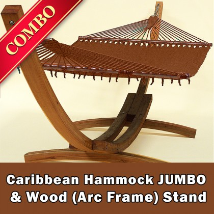 CARIBBEAN HAMMOCK JUMBO (Mocha) and Wood Stand - COMBO
