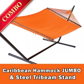 CARIBBEAN HAMMOCK JUMBO (Orange) and Steel Stand (Bronze) - COMBO