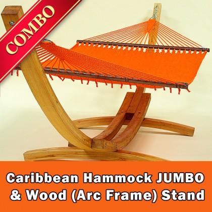 CARIBBEAN HAMMOCK JUMBO (Orange) and Wood Stand - COMBO