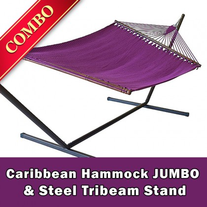 CARIBBEAN HAMMOCK JUMBO (Purple) and Steel Stand (Bronze) - COMBO