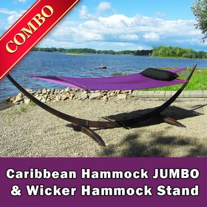 CARIBBEAN HAMMOCK JUMBO (Purple) and WICKER STAND (Brown) - COMBO