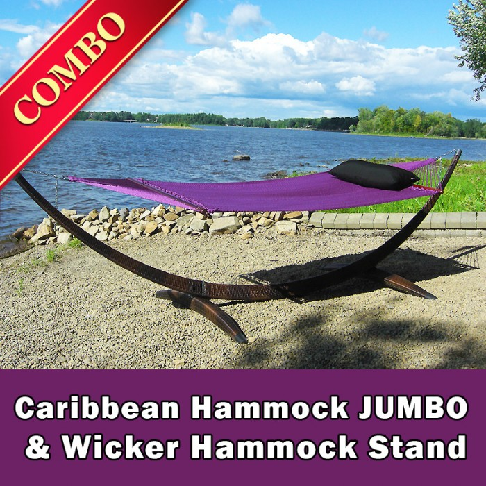 caribbean hammock jumbo  purple  and wicker stand  brown     bo  rh   hammock usa