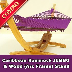 CARIBBEAN HAMMOCK JUMBO (Purple) and Wood Stand - COMBO