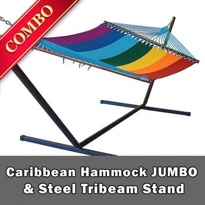 CARIBBEAN HAMMOCK JUMBO (Rainbow) and Steel Stand (Bronze) - COMBO