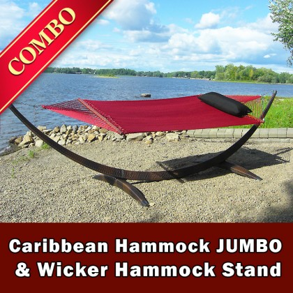 CARIBBEAN HAMMOCK JUMBO (Red) and WICKER STAND (Brown) - COMBO