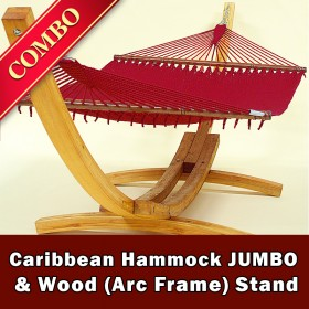 CARIBBEAN HAMMOCK JUMBO (Red) and Wood Stand - COMBO