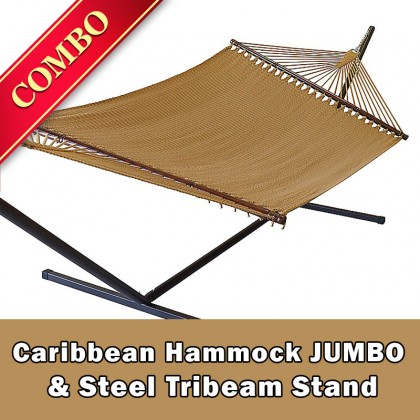 CARIBBEAN HAMMOCK JUMBO (Tan) and Steel Stand (Bronze) - COMBO