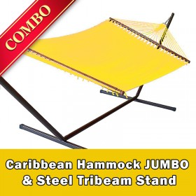 CARIBBEAN HAMMOCK JUMBO (Yellow) and Steel Stand (Bronze) - COMBO
