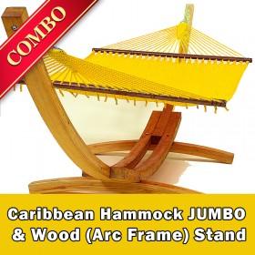 CARIBBEAN HAMMOCK JUMBO (Yellow) and Wood Stand - COMBO