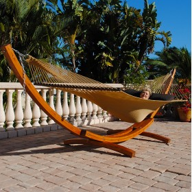 Cypress Wood Arc Hammock Stand (STAINED) - By the caribbean hammocks store of USA