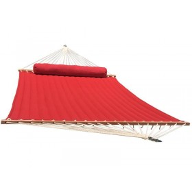 Olefin Kingsize Quilted Hammock with Matching Pillow (Red)